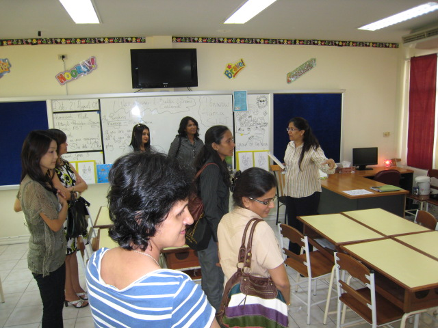 """Parents visiting """"play area"""" in Grade 4 classroom - teacher emphasizes that """"play inspires creativity"""""""