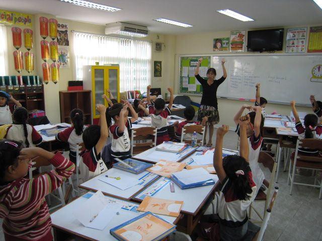 """Grade 3 teacher and students putting on their imaginary """"thinking caps"""""""