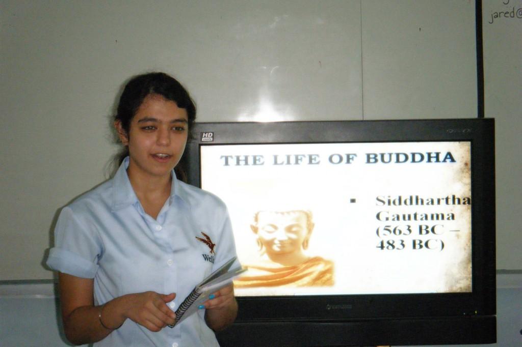 Alina begins her presentation on Buddhism