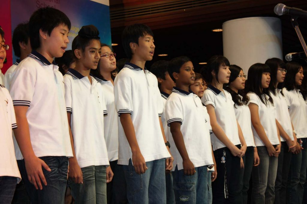 Middle school choir members imagine a world of peace