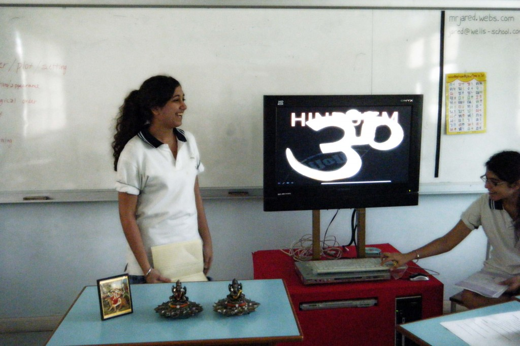 Nivan begins her presentation on Hinduism
