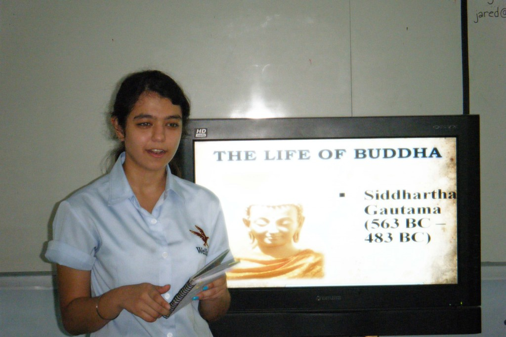 Alina begins her presentation on Buddhism
