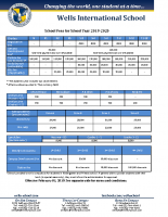 Tuition fee for school Year 2019-20